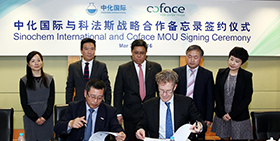 Coface Group CEO inked MOU with Sinochem International reaffirming Coface development strategy in the Chinese market